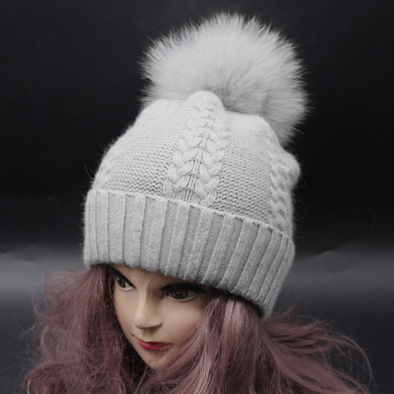 127c662fd3f Fox Fur Pompom Hats For Women Winter Cap Cashmere Wool Knitted Beanies  Pompoms Bobble Hat 2018