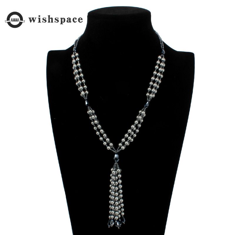 Ms fashion contracted m glass bead tassel sweater necklace jewelry in Pendant Necklaces from Jewelry Accessories