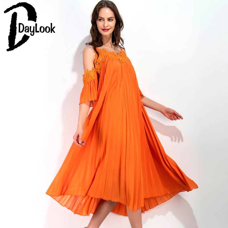 DayLook 2016 Women Spaghetti Strap Dress Orange Ruched Puff Crochet Lace Cold Shoulder Open Back Loose Pleated Beach Maxi Dress
