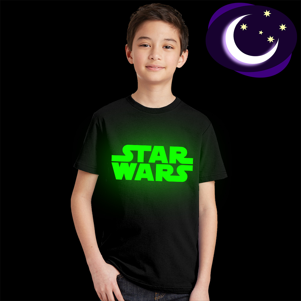 Luminous Star Wars Kids T Shirt Fluorescent Letter Logo Print Boy Girl T-shirt Glow In Dark Teens Casual Tees Tshirt Baby Summer luminous wonder woman kid girl t shirt glow in dark cartoon print baby clothes child tee short sleeve o neck t shirt fluorescent