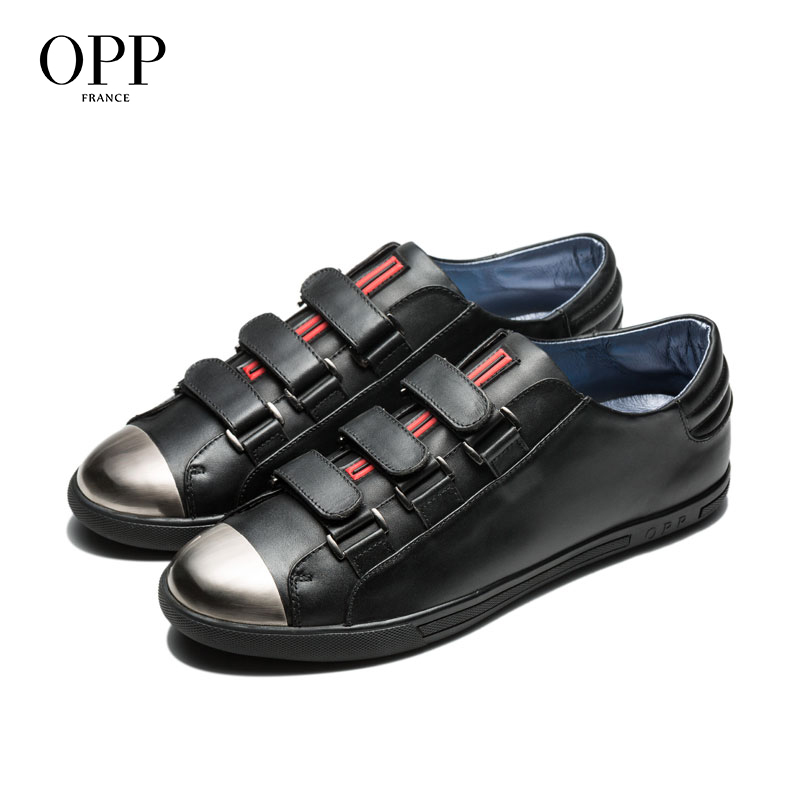 OPP 2017 Men Shoes Loafers For Cow Leather Flats Casual Hook & Loop footwear for