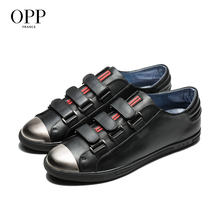 OPP 2017 Men Shoes Loafers For Men Cow Leather Flats Shoes Casual Hook & Loop Shoes Cow Leather Loafers footwear for Men весы soehnle page compact 200 white 61503