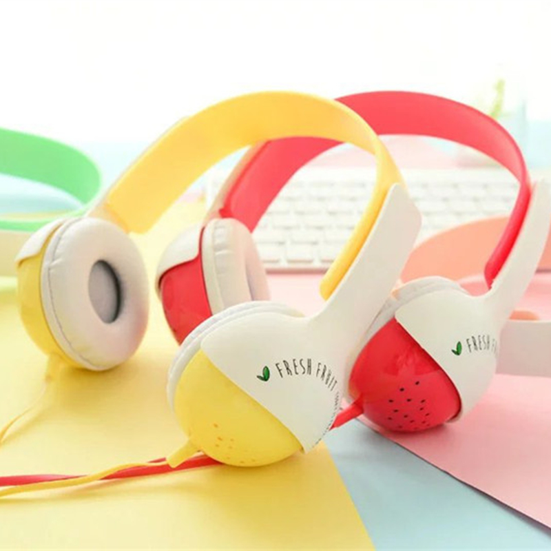 Cute Fruit Headband Stereo Headphone w/ Microphone Portable Wired Headset for Kids Girls Adults Mobile Phone iPhone Samsung Gift