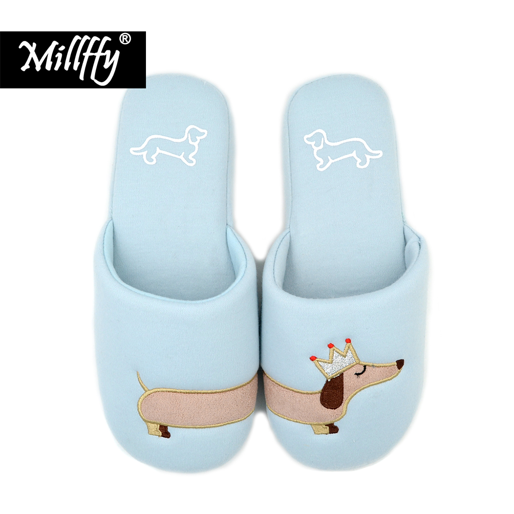 Millffy Women's Fuzzy Pink and light blue dog plush cotton Slippers slip on Dachshund plush slippers
