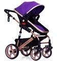 Alta Qualidade de Luxo Carrinho de Bebê de Alta Paisagem Passeggino para infantil 8 Cores Se Sentar e Deitar para Recém-nascidos Infantil Quatro Rodas