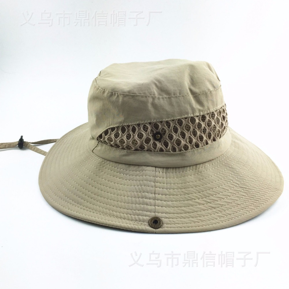 daa894cdbe3 New Wide Brim Bucket Hats Sunscreen Vent Mesh boonie Hats Double Layer  Fisherman Breathe Caps UV Protection Hats for Fishing-in Underwear from  Mother   Kids ...