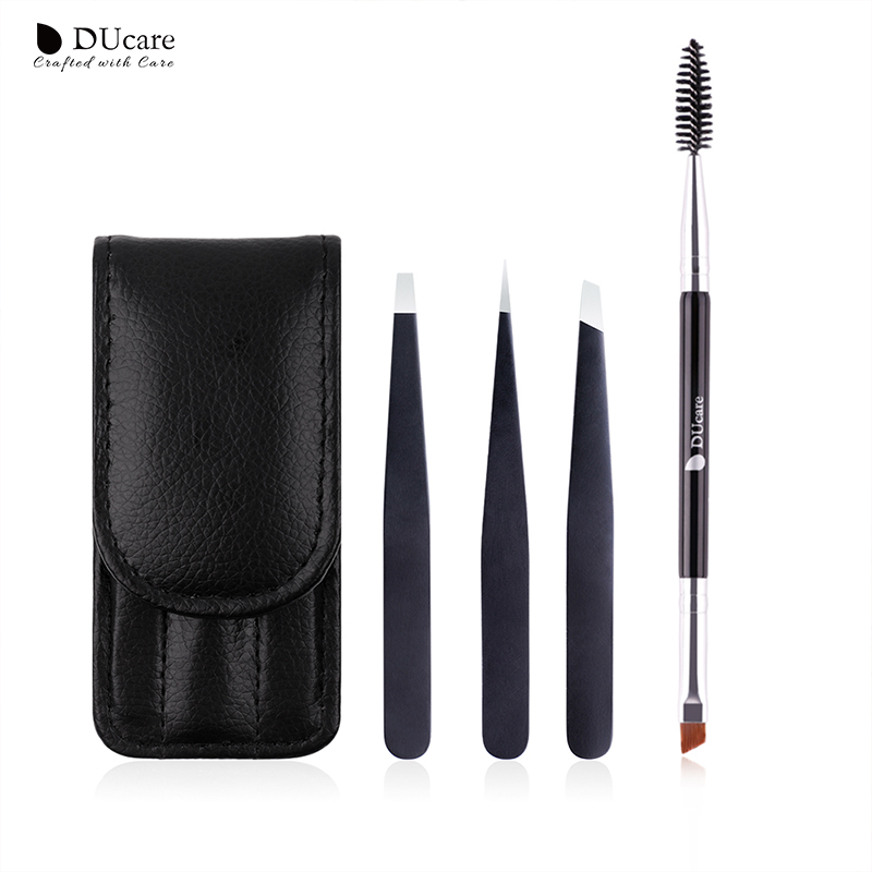 DUcare 3 PCS Eyebrow Tweezers Stainless Steel and 1 PCS Eyebrow Brush Cosmetics Tools Kit