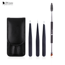 DUcare 3 PCS Eyebrow Tweezers Stainless Steel and 1 PCS Eyebrow Brush Cosmetics Tools Kit stylish stainless steel eyebrow tweezers silver