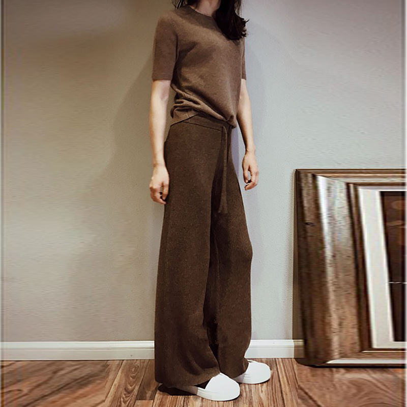 Autumn Winter New Soft Waxy Comfortable Cashmere Camel Pants Female Pure Knitted Wide Leg Pants Casual Loose Knitted Pants Women