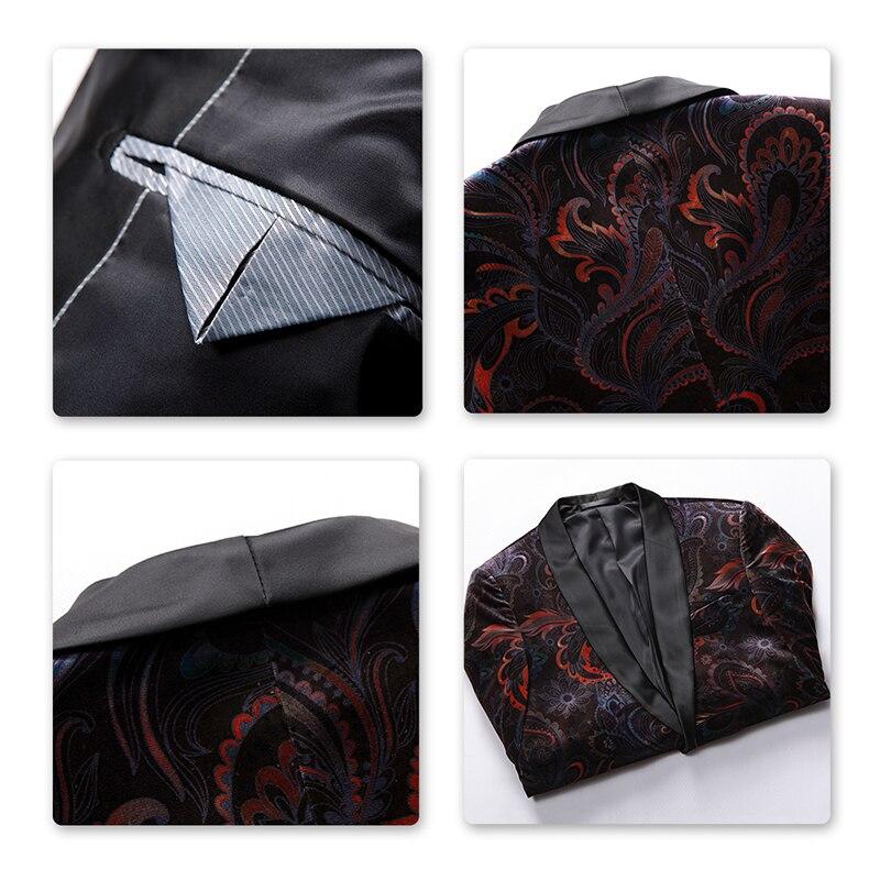 YUNCLOS  Autumn Velveteen Men Blazer Slim Printed Wedding Suit Jackets For Men High Quality Blazer Jackets americana hombr