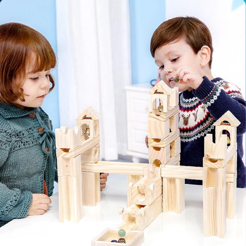 Blocs en bois jouets Montessori décor arc-en-ciel éducatif apprendre ressource toboggan balle construction pour bébé pour enfants cadeau d'anniversaire