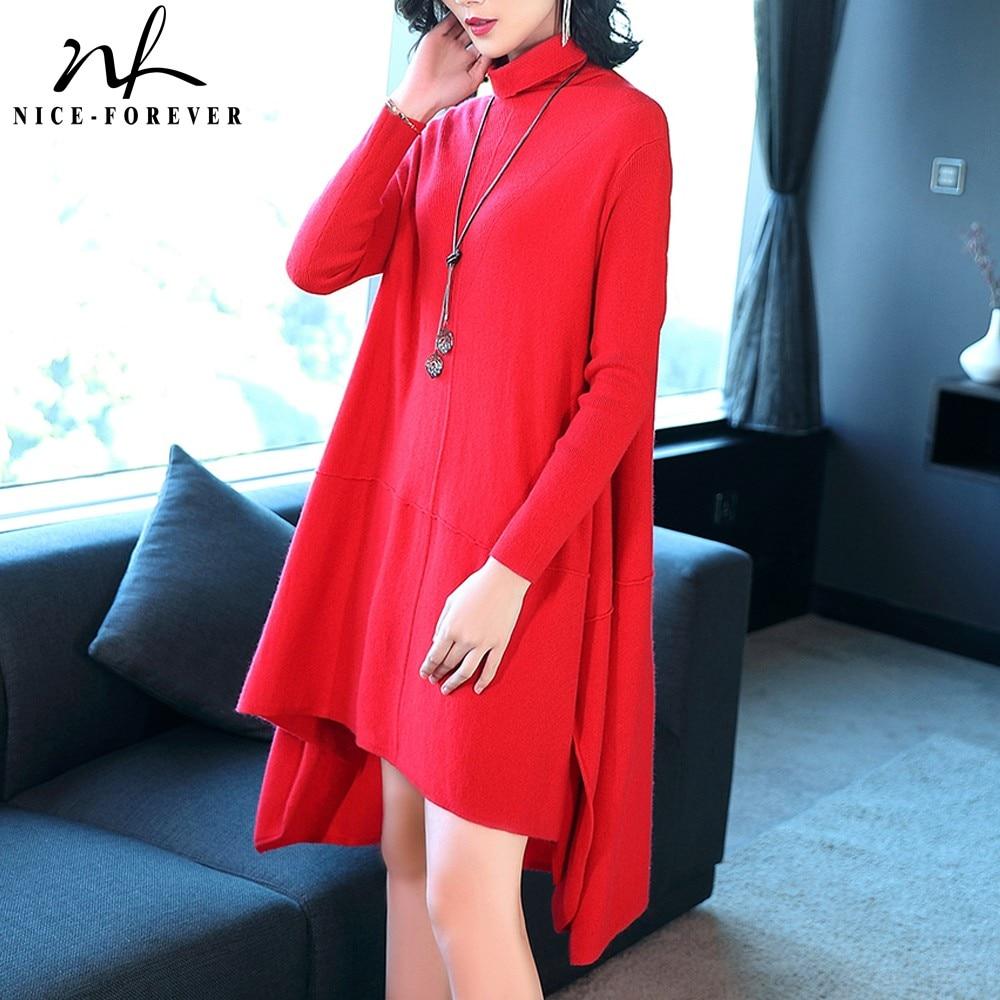 Nice-forever casual asymétrique ourlet en tricot col roulé bref vestidos une pièce élégante femmes d'affaires lâche pull robe TM033