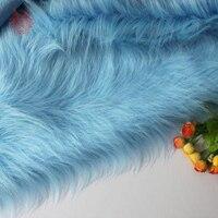 High grade light blue 9cm plush faux fur fabric for winter coat,vest,Fur collar,cape 150*50cm 1pc free shipping SP2478