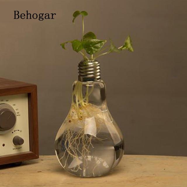 Behogar Decorative Glass Bulb Lamp Shape Flower Water Plant Hanging
