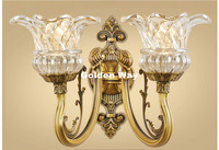 Free Shipping Copper European Classical Golden LED Brass Wall Lamp Brass Wall Sconces With Shade Modern Brass wall lamp Lustres