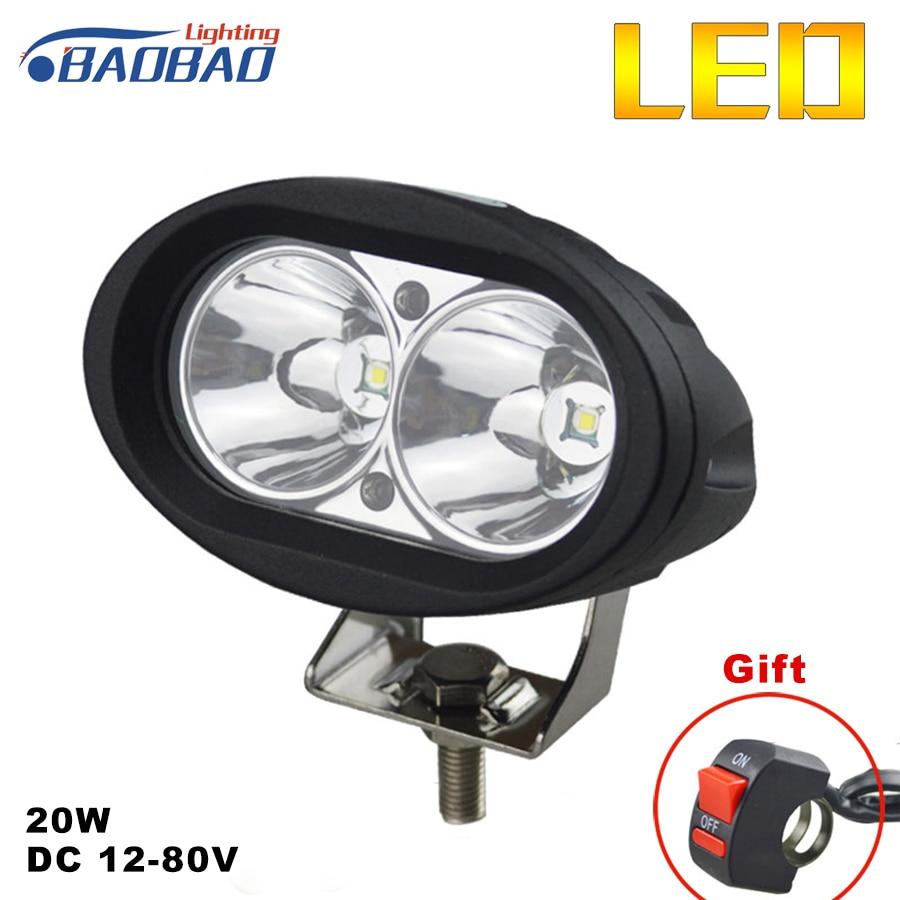 BAOBAO Motorcycle LED Work Light U10 20W 2150 Lumen Universal Spot Bicycle Off Road ATV 4WD Car Driving Fog Auxiliary Lamp