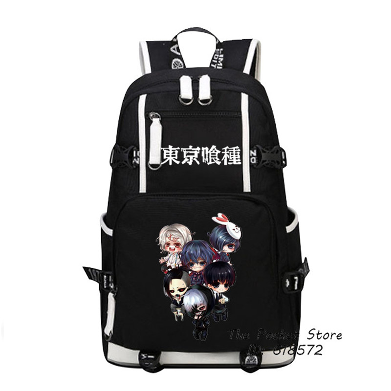 High Quality Anime Tokyo Ghoul Cosplay Kawaii Ken Kaneki Printing Backpack Canvas School Bags Laptop Backpack Travel Bags anime tokyo ghoul cosplay anime shoulder bag male and female middle school student travel leisure backpack page 4