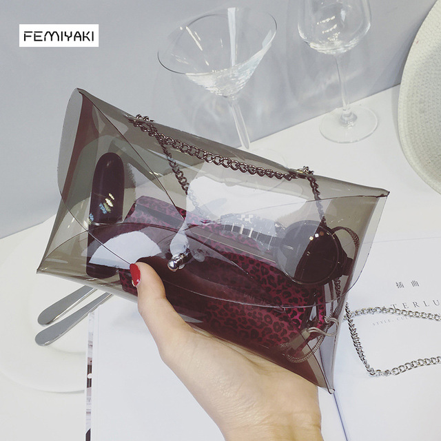 dcab10d856d Femiyaki D été De Couleur de Sucrerie Femmes Sac À Main PVC Transparent Sac  Transparent