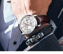 חם אופנה של אדם קוורץ תאריך אוטומטי שעוני יד מותג עמיד למים עור שעונים לגברים מזדמן עלה זהב שעון לזכר 2018 חדש