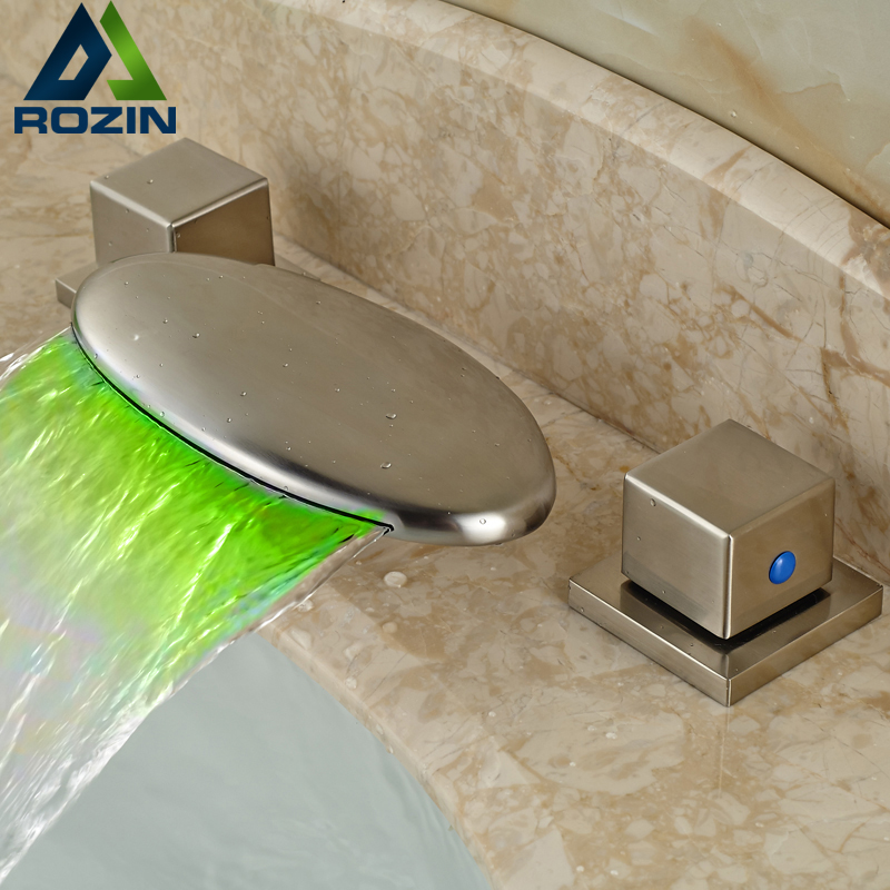 цена на Double Square Handle 3pcs Basin Faucet Deck Mount Brushed Nickel Bathroom Mixer Taps with LED Light