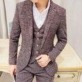 Frete grátis Outono inverno mens terno 3-piece set Coreano vestido de casamento do noivo negócio casual Xadrez Slim fit ternos dos homens do vintage