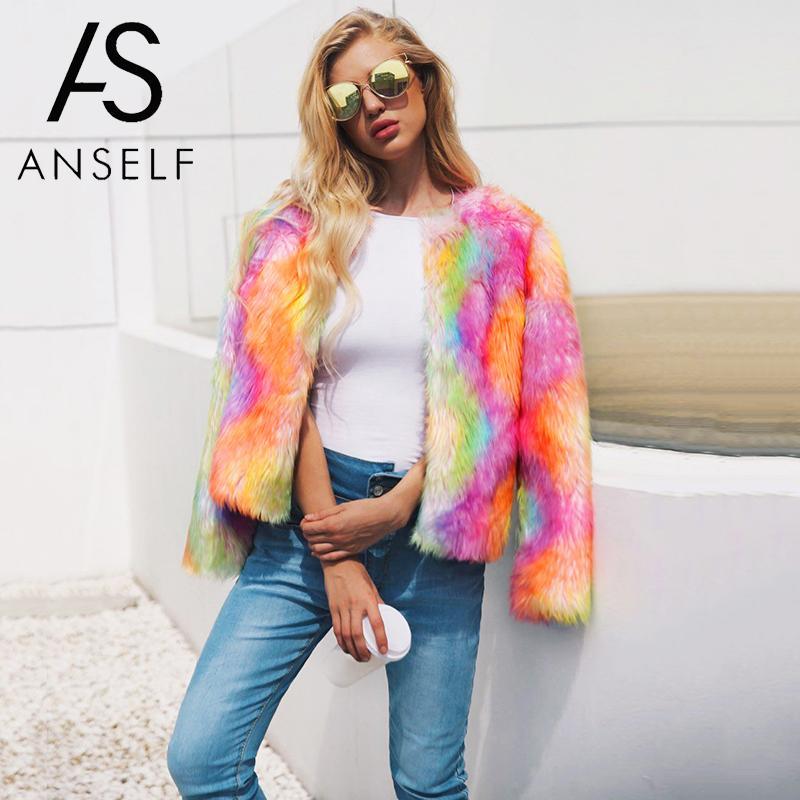 2019 Autumn Winter Tops Korean Fashion Coat Women Faux Fur Coat Open Front Thick Warm Cardigan Jacket Outerwear Overcoat Orange