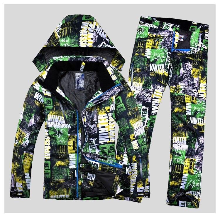 Men Ski Suits Ski Jacket+Pant Windproof Waterproof Outdoor Sport Wear Camping Riding Super Warm Male Skiing Snowboard Suit