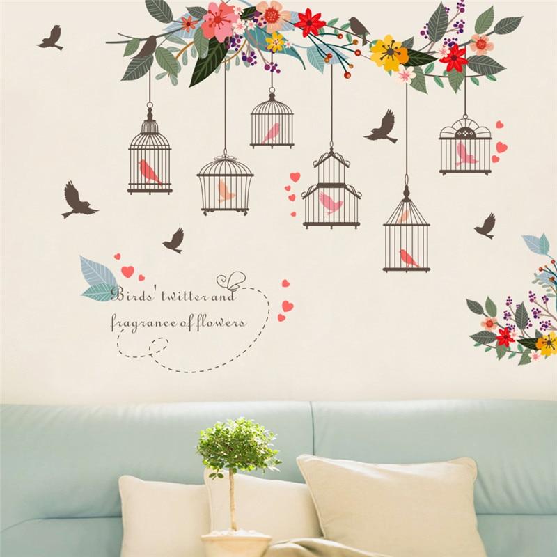 Colorful Flower Birds Birdcage Wall Sticker Decals Wall Art For Home Living Room Bedroom TV Background Garden Window Decor