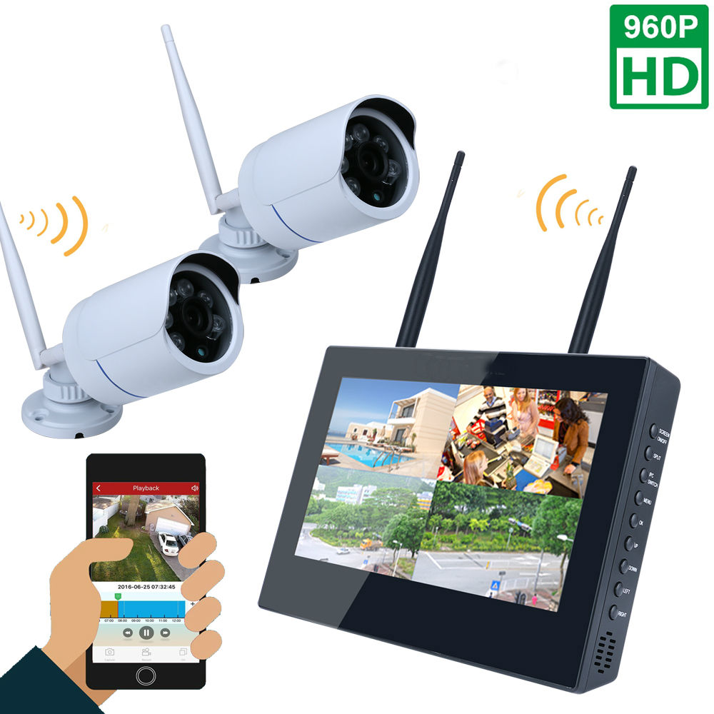 10inch LCD Screen Monitor 4CH 960P Wifi Wireless NVR Recorder Security With 2x 960P 1.3MP Weatherproof outdoor Dome Cameras