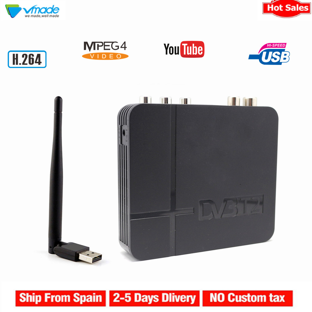 Vmade DVB T2 HD Digital Terrestrial Receiver H.264 MPEG4 TV Tuner Support Youtube PVR 3D Interface + WIFI Stardard Set Top Box