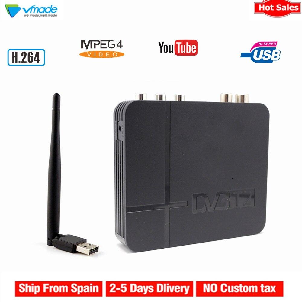 Récepteur terrestre numérique HD Vmade DVB-T2 H.264 MPEG4 prise en charge du Tuner TV Interface 3D Youtube PVR + décodeur standard WIFI