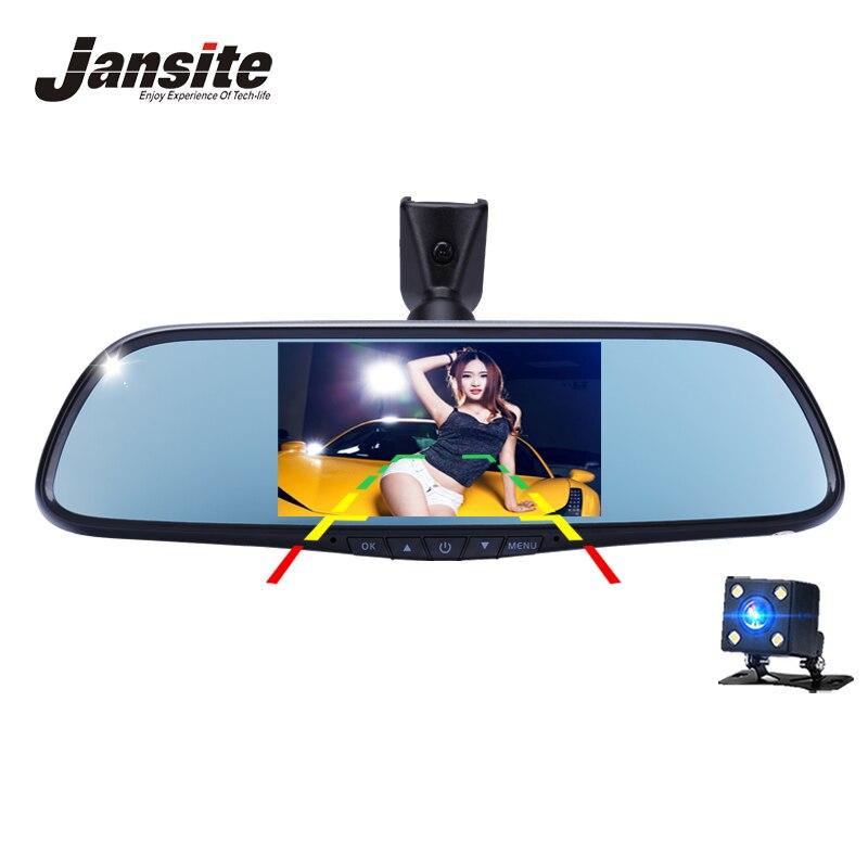 все цены на Jansite Car Dvr 4.5 inch Dash Cam Rearview Mirror Car Camera Dual Lens Detector Recorder Video FHD 1080p Mirror bracket