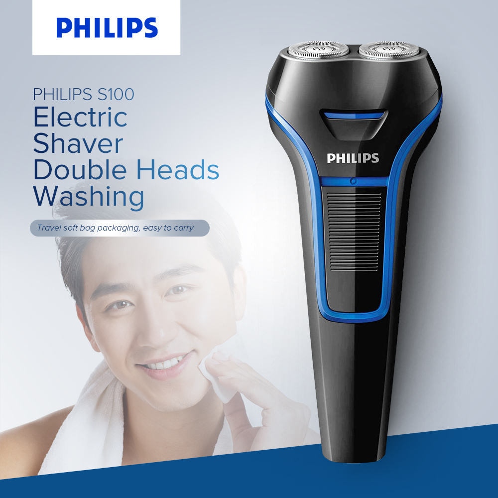 PHILIPS Electric Men Shaver Mini Rechargeable Washable Razor Blades Shaver Epilator Double Heads Cordless Shaver Beard Trimmer kemei km 2016 men s cordless electric shaver razor trimmer rechargeable reciprocating double groomer wet and dry use