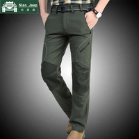 NIANJEEP 2018 Winter Pants Men Military Army Green Thicken Fleece Straight Long Trousers Quick Drying Pants