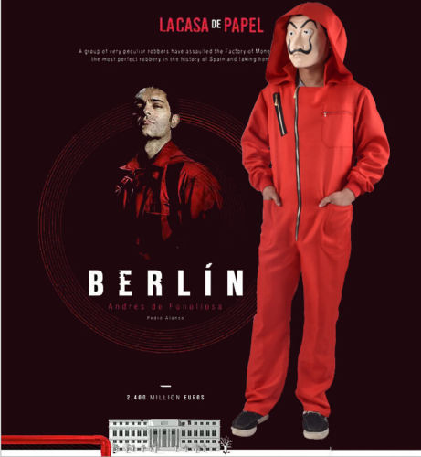 La casa De Papel Cosplay Costume Suit Salvador Dali Money Heist Hoodie JumpsuitV