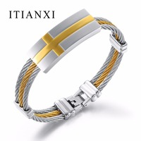 ITIANXI Punk Men Bracelet 3 Rows Wire Chain Bracelets Cross Bangles Fashion Punk 316L Stainless Steel