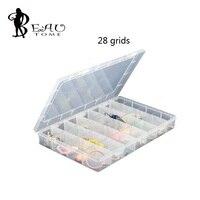 1 pcs/lot 28 Grille 35x22x4.8 cm Clair Transparent Boîte En Plastique Cosmétique Nail Art Pill Box Case Portable Conteneur De Stockage Grand