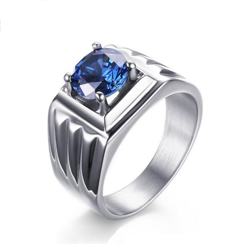 Kvalitet Titanium smycken Ring Blue Stone AAA + cubic Zirconia Ring Stainless Steel Wedding Engagement Ring for Men