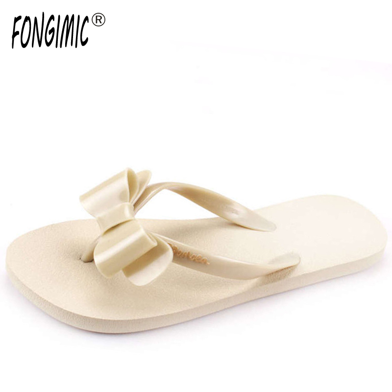 FONGIMIC casual flat bowtie slipper Hot sale Summer women sandals ladies fashion all match beach comfortable flower flip flops yierfa fashion cork slipper sandals 2017 new summer women patchwork beach slides double buckle flip flops shoe white purple red