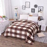 New Plaid Flannel Blanket On The Bed For Adult Kids Twin Full Queen King Size Throw