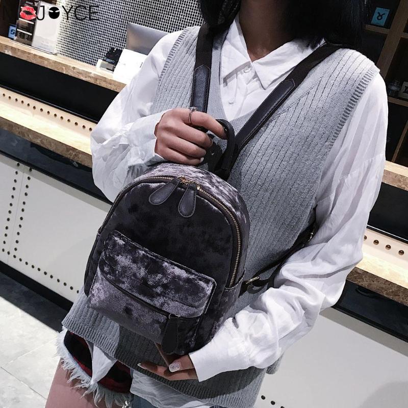 Women Soft Velvet Zipper Pure Color Backpack For Teenager Girls Small Travel Backpacks School Bags Feminina Female Shoulder Bags #3
