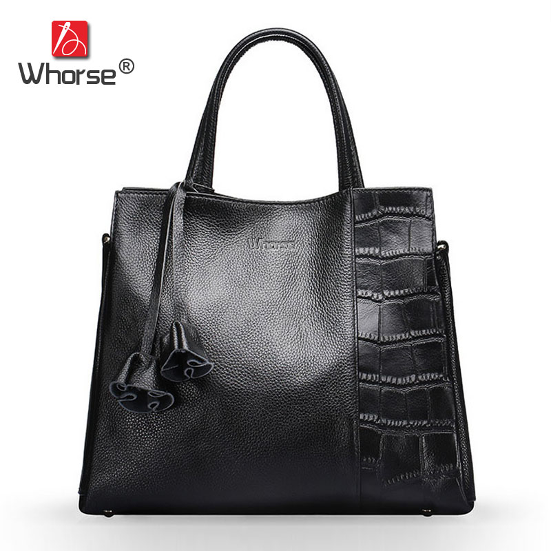 [WHORSE] New 100% Genuine Leather Women Handbag Brand Luxury Crocodile Flower Tassel Cowhide Shoulder Messenger Bag W07140