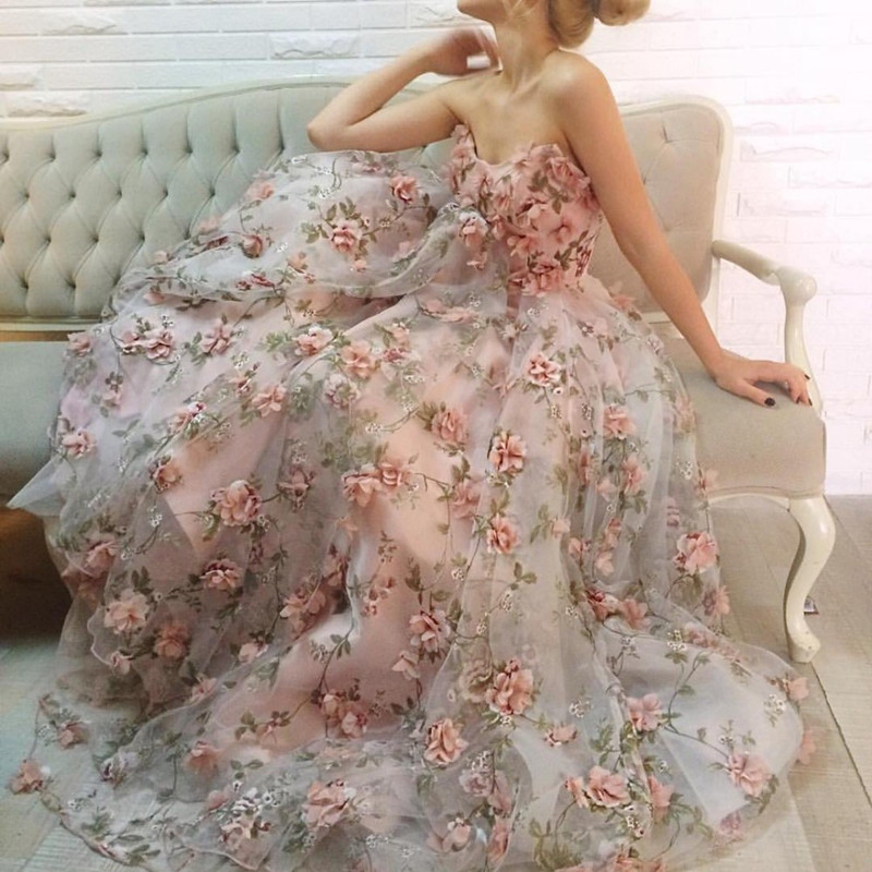 Vestido Formatura Longo Sexy Off The Shoulder Sweetheart Flowers Sleeveless Colorful Prom Gown Wedding Party Dress