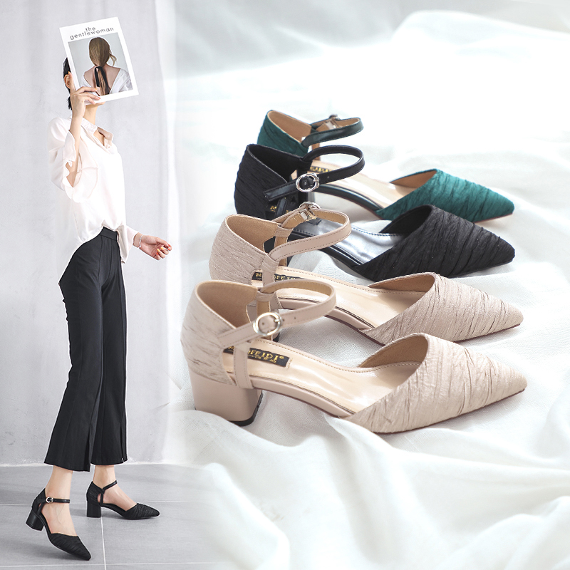 Sandals Pumps-Shoes High-Heel-Shoes Square Suede Pointed-Toe Party Female Summer Fashion
