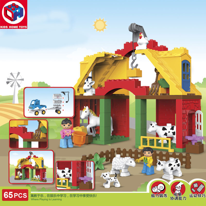 Kid's Home Toys Happy Farm Animals Paradise Large Particles Building Block Horse Cow Animals Large Size Bricks Compatible Duplo qwz 39 65pcs farm animals paradise model car large particles building blocks large size diy bricks toys compatible with duplo