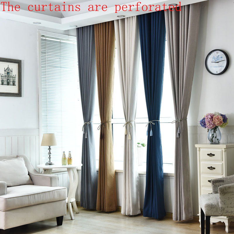 Urijk 1PC Solid Color Blackout Curtains For Living Room Luxury Curtains  Drapes Window Custom Made Modern