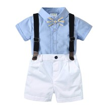 Cotton Fashion 2 Piece Set Boys Kids Clothes Solid Children Shirt Boy Shorts