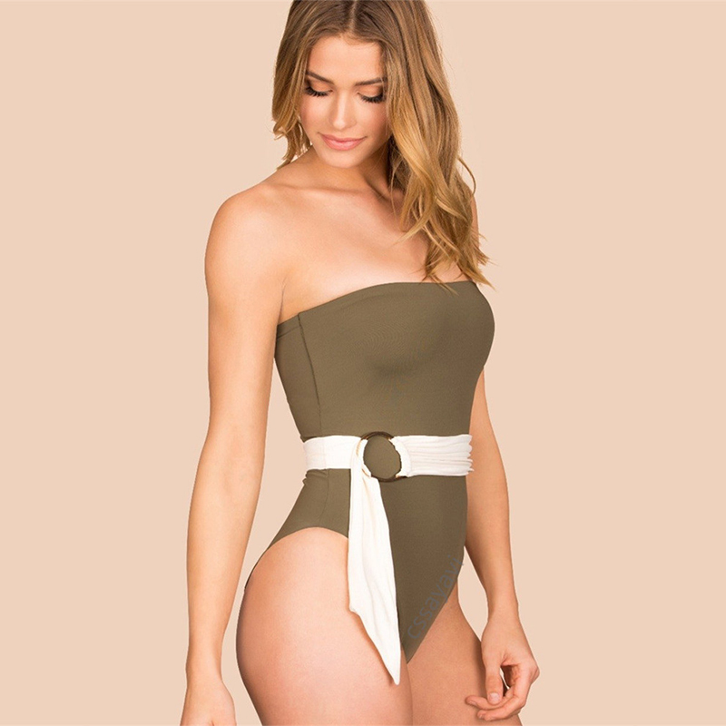 2018 Belt Swimsuit Off Shoulder Swiming Suit High Waist Solid Padded Beachwear One Piece Bather Sexy Women Bandage Swimwears