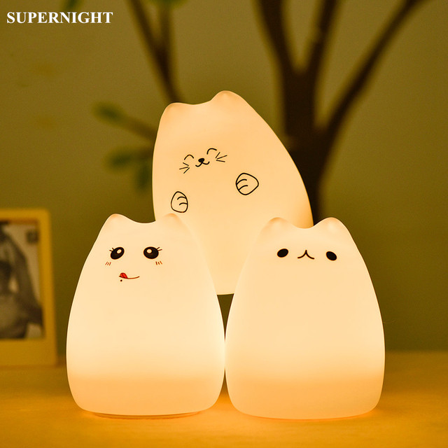 SuperNight Cartoon Cat LED Night Light Touch Sensor Remote Colorful USB Silicone Bedside Table Lamp for Children Kids Baby Gift