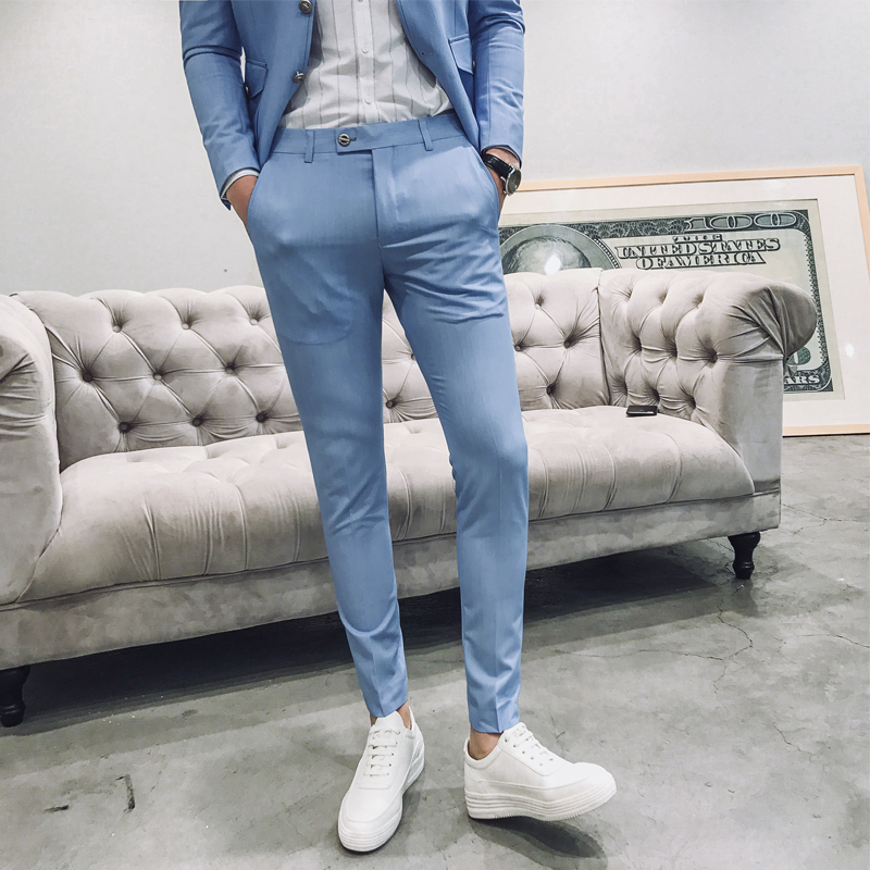 2018 Spring And Summer New Social Mens Suit Pants Slim Simple Solid Color Fashion Wild Business Casual Trend British Style ...